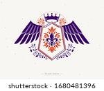 vintage winged heraldry design... | Shutterstock .eps vector #1680481396