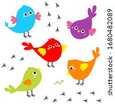 Bird Icon Set. Toe Trail Trace...