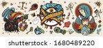 coronavirus. old school tattoo. ... | Shutterstock .eps vector #1680489220