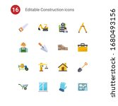 16 construction flat icons set... | Shutterstock .eps vector #1680493156
