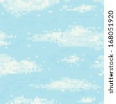 pixel art sky seamless vector... | Shutterstock .eps vector #168051920