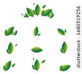 set of green leaves on a white... | Shutterstock .eps vector #1680519256