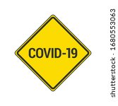 covid 19 icon. yellow caution...