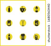 beverages icons set with wine...
