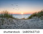 Sand dunes on the beach at...