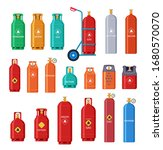 gas cylinder. oxygen metal tank ... | Shutterstock .eps vector #1680570070