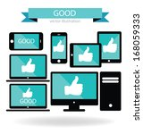 social media. hand signs vector.... | Shutterstock .eps vector #168059333