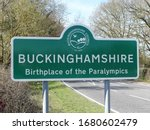 Small photo of Chorleywood, Hertfordshire, England, UK - 1st April 2020: Buckinghamshire Council, Birthplace of the Paralympics sign. Buckinghamshire Council is a unitary local authority established in 2020.