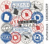 utah  usa set of stamps. travel ... | Shutterstock .eps vector #1680608209
