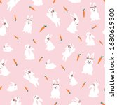 cute bunnies seamless pattern.... | Shutterstock .eps vector #1680619300