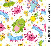 funny pattern with aliens....   Shutterstock .eps vector #1680620113