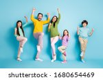 Small photo of Full length body size view of nice attractive lovely adorable ecstatic overjoyed cheerful cheery big full family celebrating luck isolated on bright vivid shine vibrant blue color background