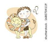 the zodiac sign leo. cute boy...   Shutterstock .eps vector #1680704119