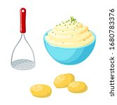 potato masher  unpeeled tubers... | Shutterstock .eps vector #1680783376