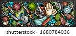 coronavirus hand drawn cartoon... | Shutterstock .eps vector #1680784036