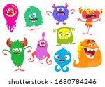 funny cartoon monsters. set of... | Shutterstock . vector #1680784246