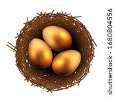 easter painted eggs in a wicker ...   Shutterstock .eps vector #1680804556