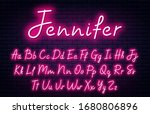 glowing neon script alphabet.... | Shutterstock .eps vector #1680806896