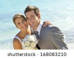 portrait of just married couple ... | Shutterstock . vector #168083210