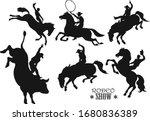 man riding bucking bronco in...   Shutterstock .eps vector #1680836389