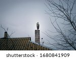 stork seating on chimney and... | Shutterstock . vector #1680841909