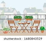 table and chairs on the balcony.   Shutterstock .eps vector #1680843529