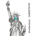 statue of liberty in a mask ...   Shutterstock .eps vector #1680878749