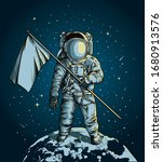 astronaut holding a flag over... | Shutterstock .eps vector #1680913576