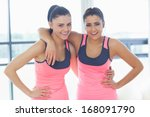 portrait of two fit young women ... | Shutterstock . vector #168091790