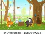animals in spring forest having ...   Shutterstock .eps vector #1680949216