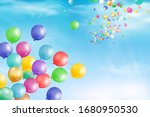 flying bright colorful balloons ... | Shutterstock .eps vector #1680950530