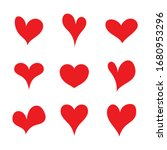 Red Set Heart Shapes. Flat...