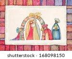 christmas nativity scene. jesus ... | Shutterstock . vector #168098150