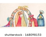 christmas nativity scene. jesus ... | Shutterstock . vector #168098153