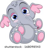 Stock vector cute baby elephant 168098543