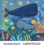 underwater world  vector cute... | Shutterstock .eps vector #1680995020