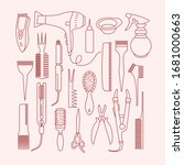 vector linear set with... | Shutterstock .eps vector #1681000663