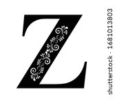 letter z. vintage black flower...   Shutterstock .eps vector #1681013803