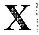 letter x. vintage black flower...   Shutterstock .eps vector #1681013809