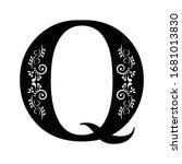 letter q. vintage black flower...   Shutterstock .eps vector #1681013830