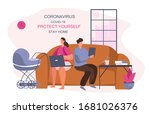 i stay at home stay safe... | Shutterstock .eps vector #1681026376