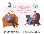 stay home stay safe.working... | Shutterstock .eps vector #1681026379