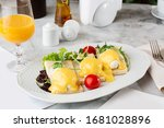 poached eggs with vegetable on... | Shutterstock . vector #1681028896