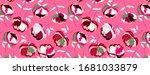 rich big pink peonies seamless... | Shutterstock .eps vector #1681033879
