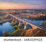 Aerial View Of Railroad Bridge...