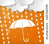 clouds with white umbrella and... | Shutterstock .eps vector #168106298