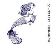 mermaid with long hair  tied... | Shutterstock .eps vector #1681137400
