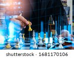 chess game on chess board on... | Shutterstock . vector #1681170106