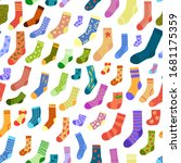seamless pattern with doodle... | Shutterstock .eps vector #1681175359