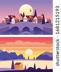 set summer sunset seaside...   Shutterstock .eps vector #1681215193